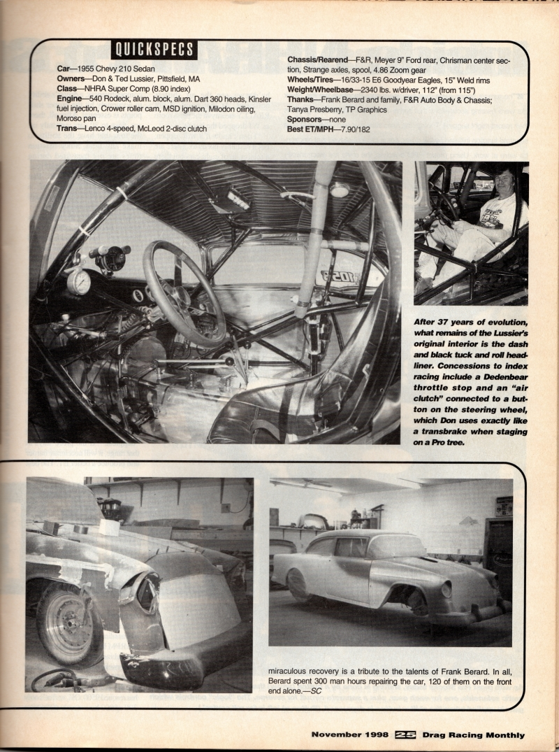 pics of Drag Racing Monthly Nov 1998 article on a car built by F&R