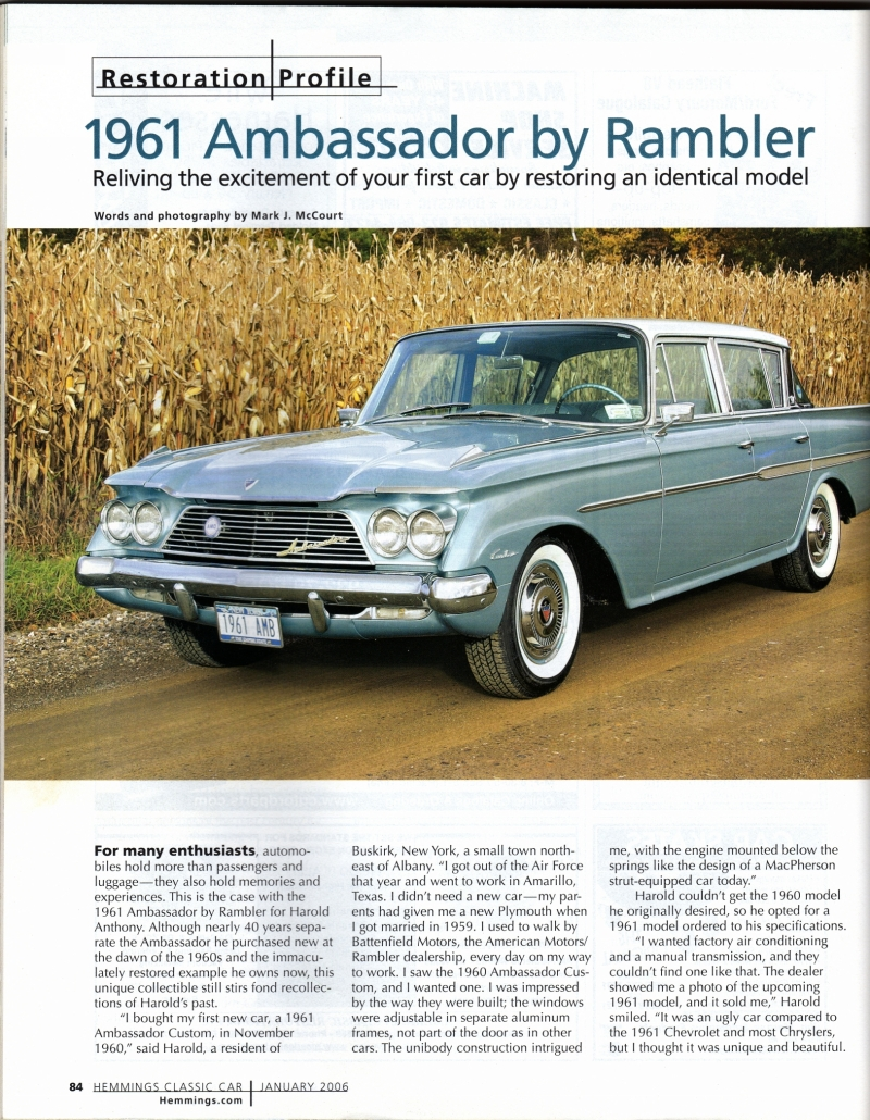 pics of Hemmings Classic Car Jan 2006 article on a car restored by F&R